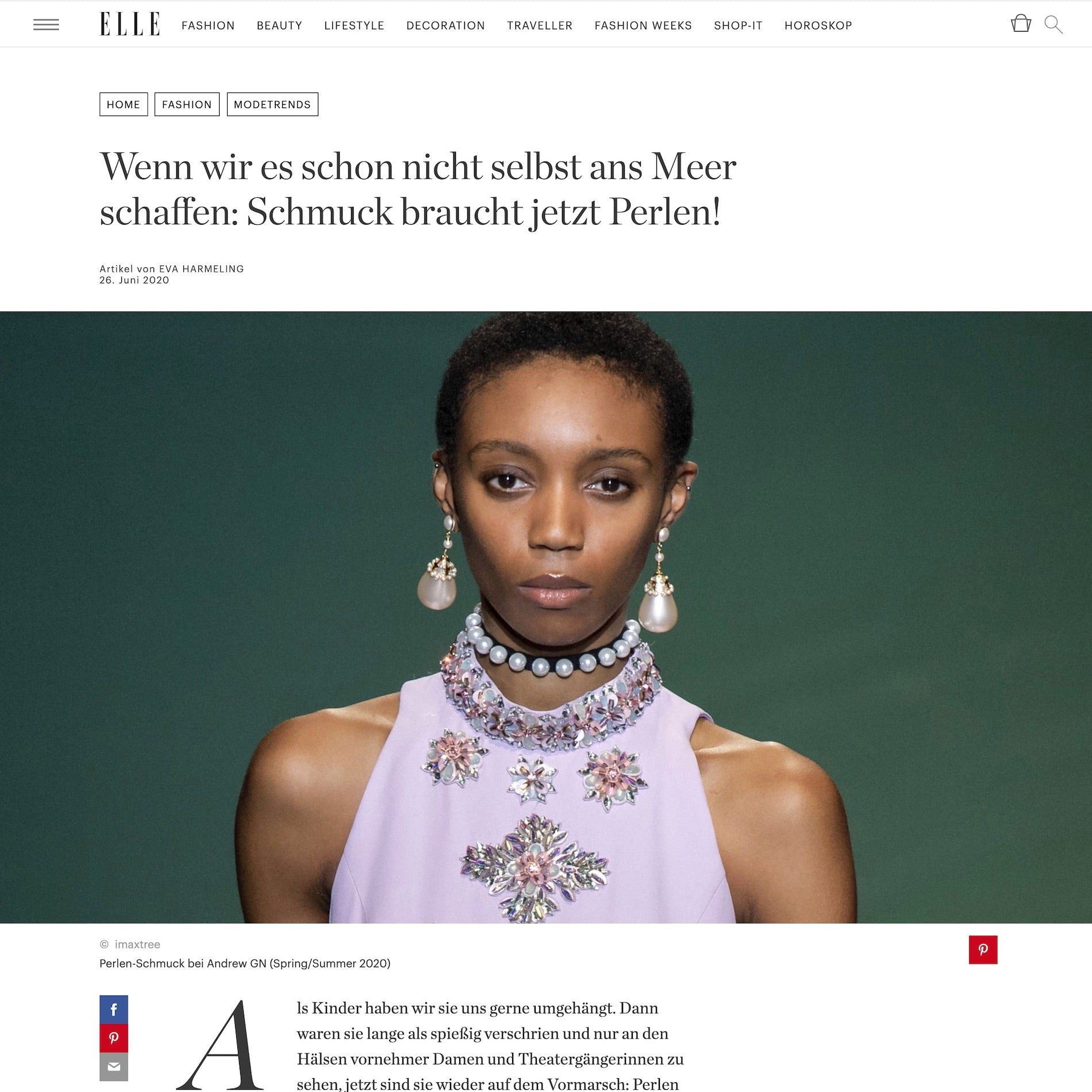 Elle Germany: Mermaid Stories jewelry is featured in this article about pearl trends