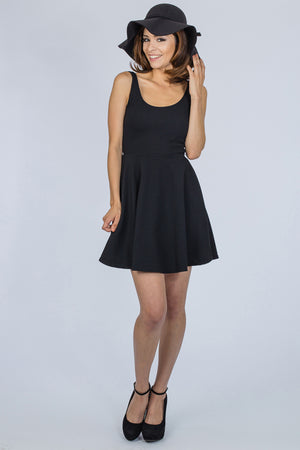BLACK FLARE DRESS - BLEU-BLEU