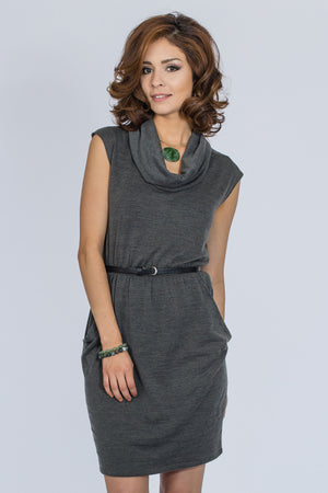 COWL NECK DRAPED ACROSS DRESS - BLEU-BLEU