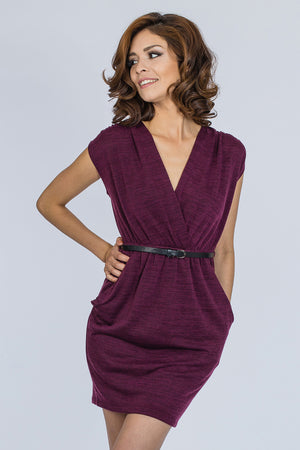 DRAPED ACROSS DRESS - BURGUNDY - BLEU-BLEU