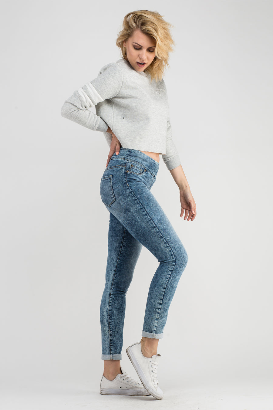 ACID BLUE HIGH RISE PULL ON LEGGINGS - BLEU-BLEU