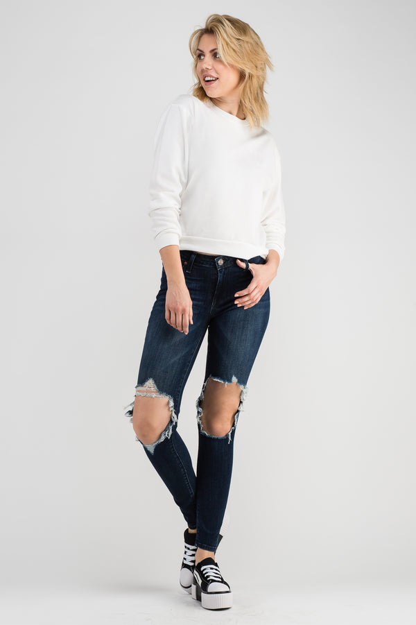 SPACE BLUE MID RISE SKINNY JEANS
