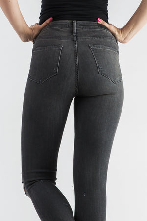 SHOTGUN DESTROYED GREY MID RISE SKINNY JEANS - BLEU-BLEU