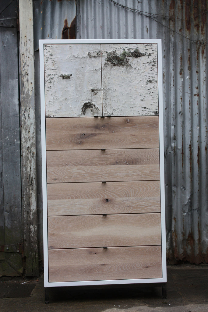 Whitewashed wood cabinet