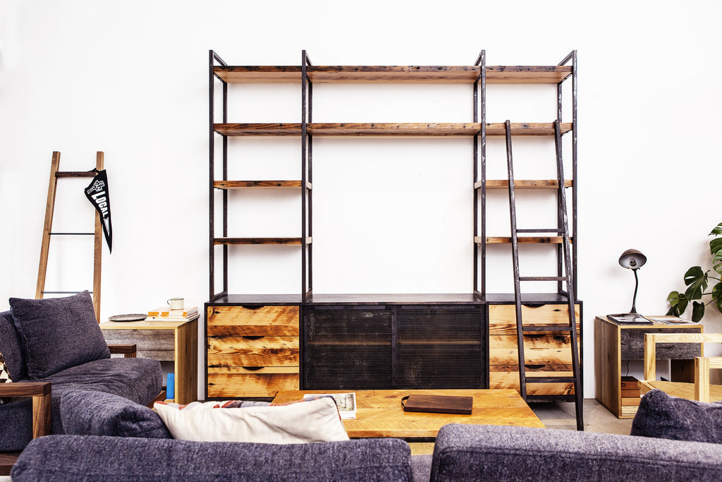 customized library unit with ladder