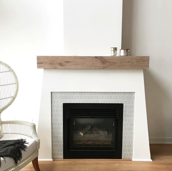 whitewashed wood mantle