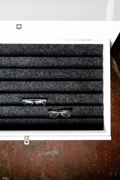 Custom eyewear storage cabinet