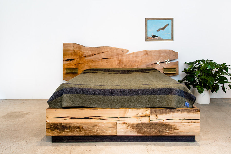 Custom slab headboard bed