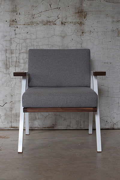 White steel and walnut lounge chair