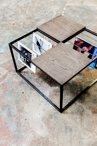 custom coffee table in wood and steel