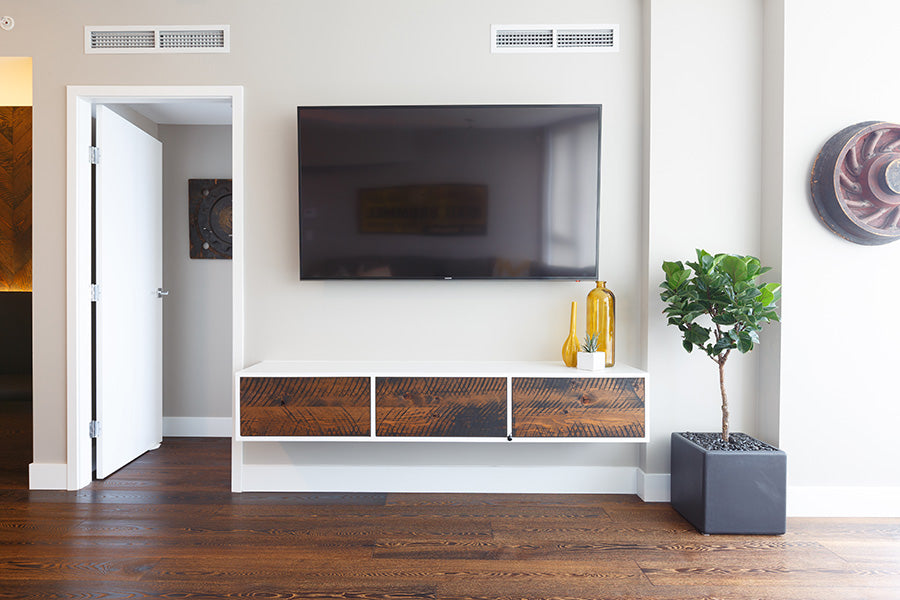 Custom reclaimed wood media unit