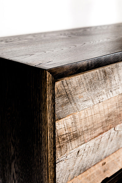 custom reclaimed wood cabinet detail