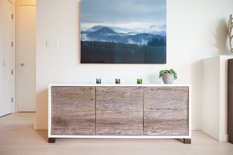 custom sideboard in white lacquer and reclaimed wood