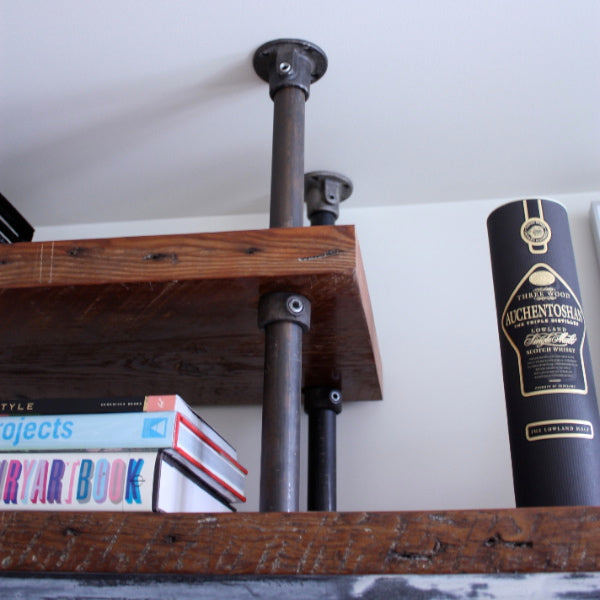 built-in industrial pipe shelf detail