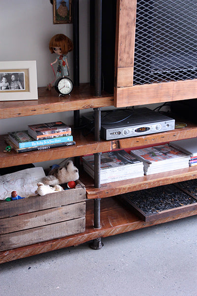 built-in industrial pipe shelf