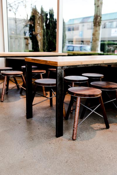 commercial space - tables and stools for Moja coffee