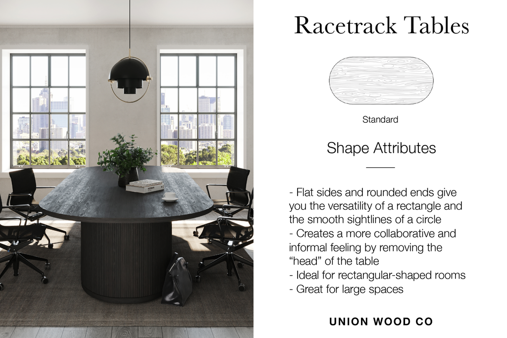 racetrack shaped tables