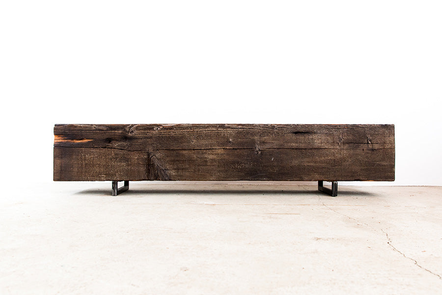 reclaimed beam bench