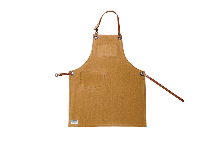 Shop apron with pockets and leather straps