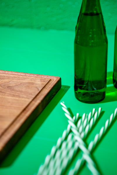 wood cutting board with juice track