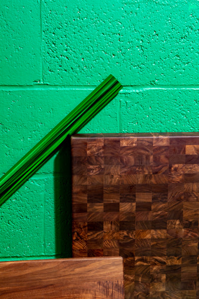 end grain cutting board detail