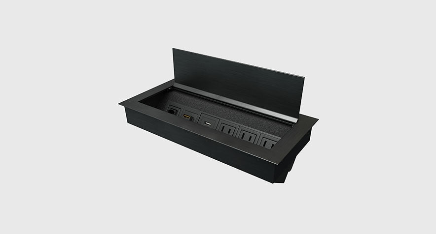 Ellora Power Box in black aluminum