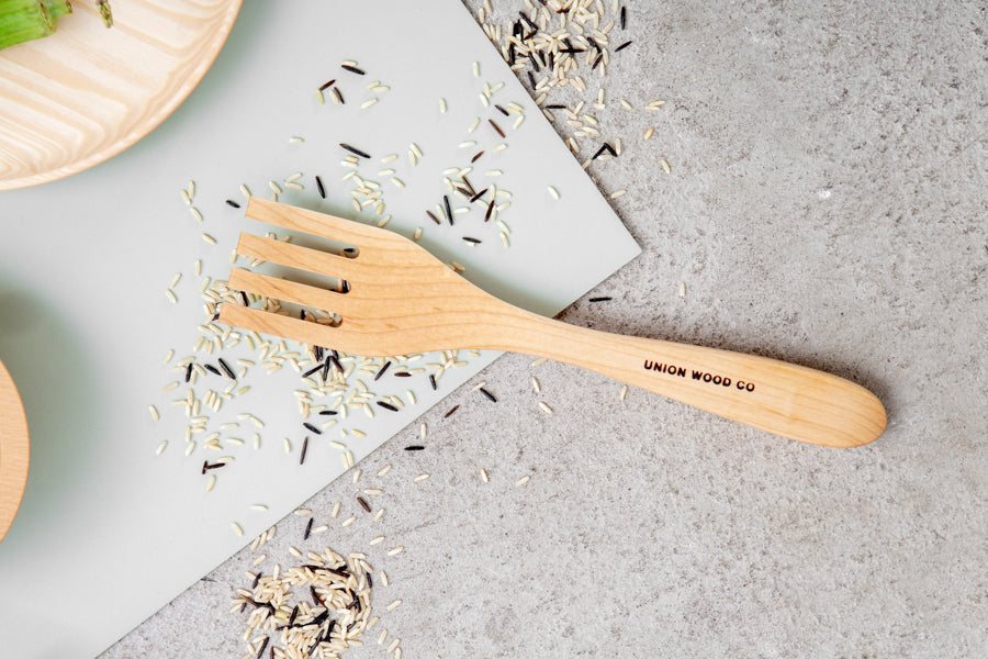 simple wood salad server with logo