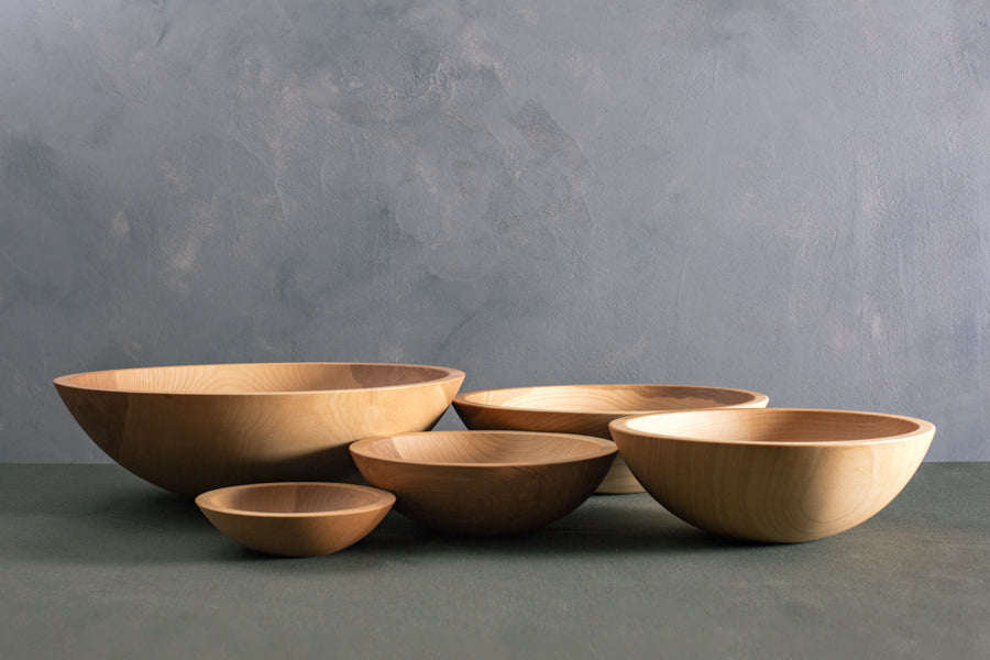 set of solid wood bowls