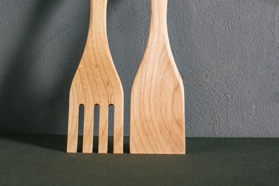 personalized salad servers in light wood