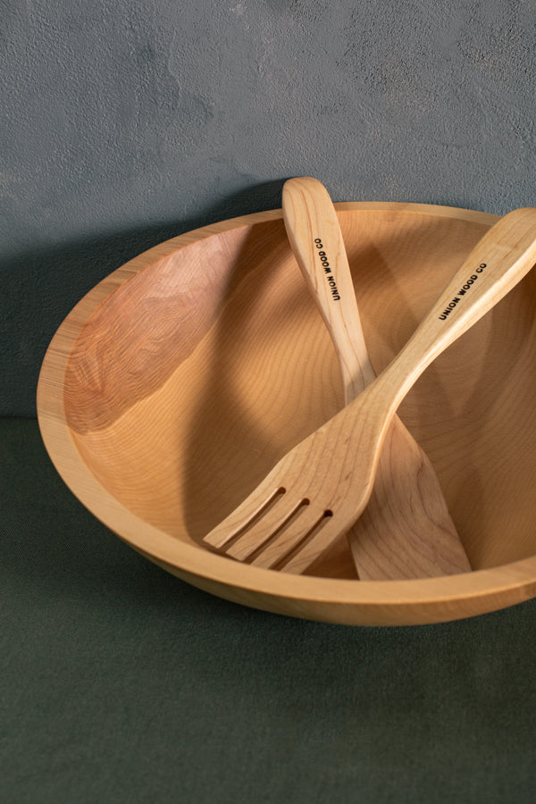 personalized wood salad servers and bowl