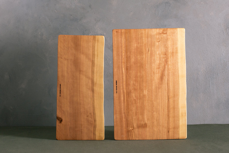 personalized live edge cherry cutting boards