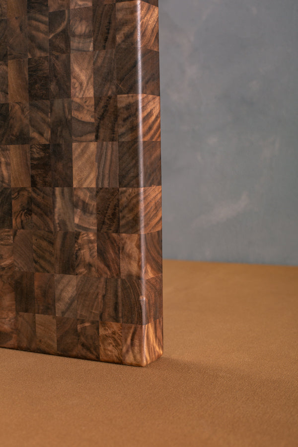 end grain cutting board in walnut
