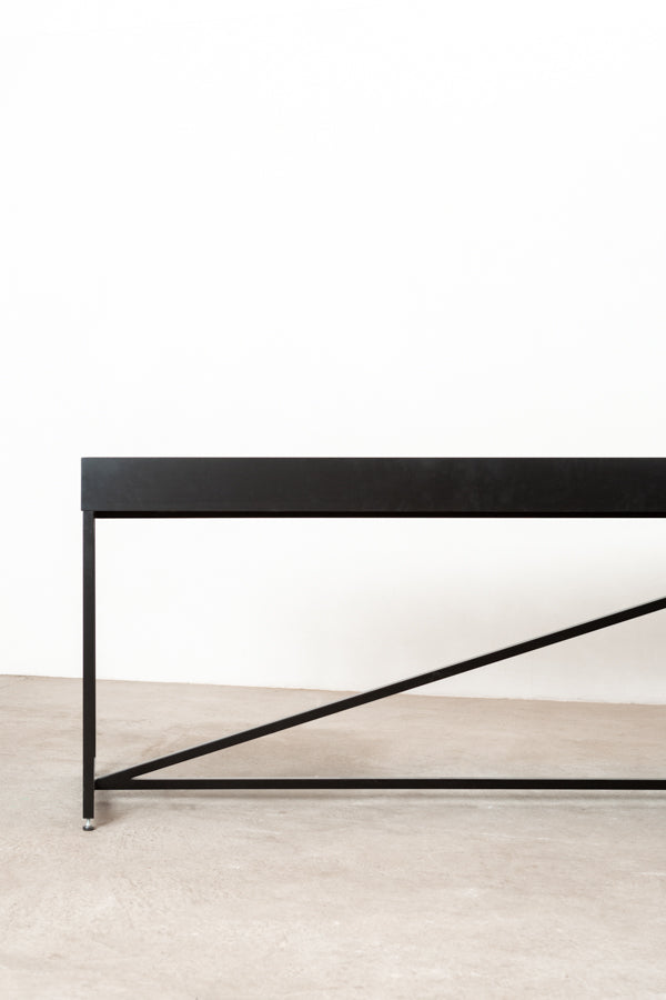 modern black shuffleboard table