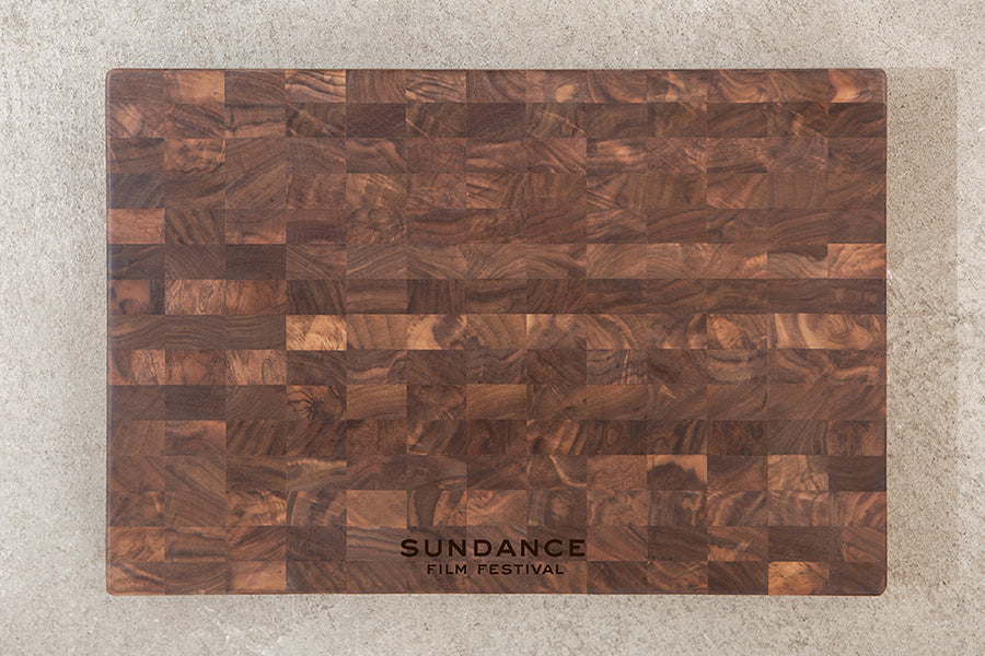 end grain cutting board with logo