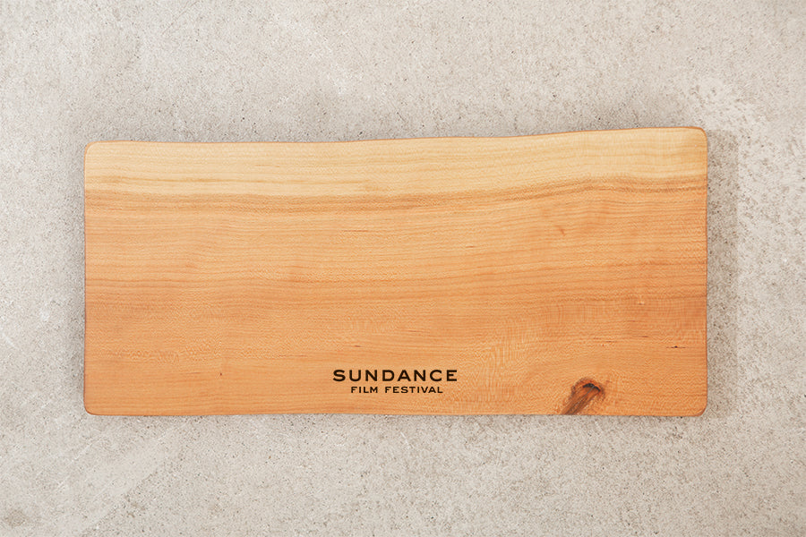 live edge cutting board with logo