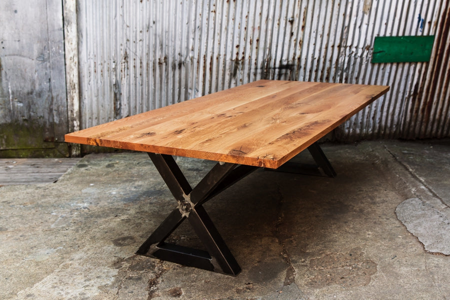 rustic dining table with steel base
