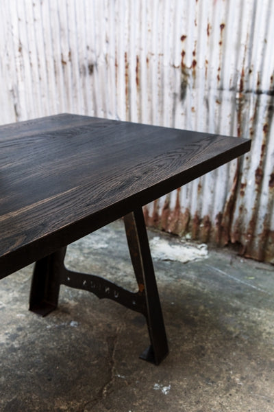 solid wood industrial table