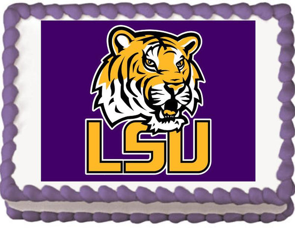 Louisiana State Tigers Edible Cake, Cupcake & Cookie Topper - Trish Gayle