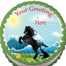 Load image into Gallery viewer, Black Horse Rearing Edible Cake, Cupcake & Cookie Topper - Trish Gayle
