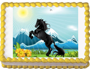 Black Horse Rearing Edible Cake, Cupcake & Cookie Topper - Trish Gayle