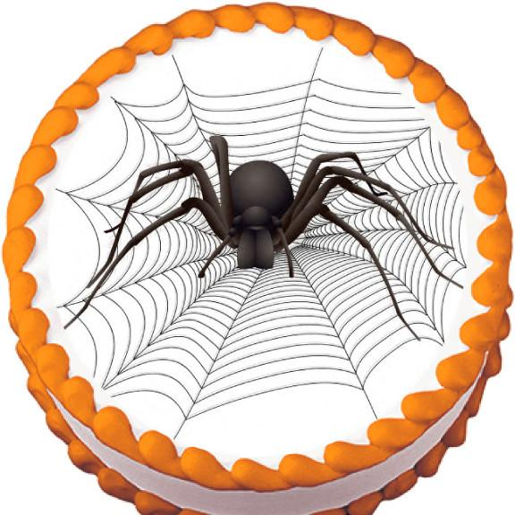 Big Spider on Web Halloween Edible Cake, Cupcake & Cookie Topper - Trish Gayle
