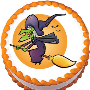 Witch on a Broom Halloween Edible Cake, Cupcake & Cookie Topper - Trish Gayle