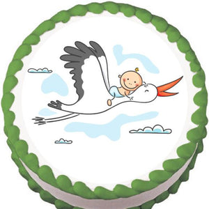 Stork and Baby (Generic) Baby Shower Edible Cake, Cupcake & Cookie Topper - Trish Gayle