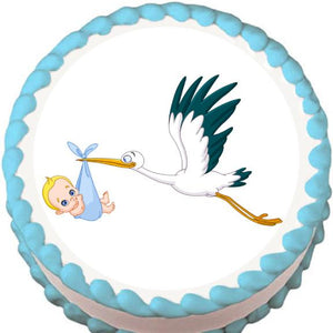 Stork with Baby Boy Baby Shower Edible Cake, Cupcake & Cookie Topper - Trish Gayle