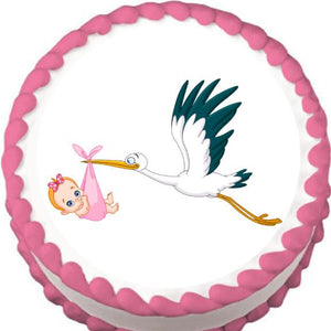 Stork with Baby Girl Baby Shower Edible Cake, Cupcake & Cookie Topper