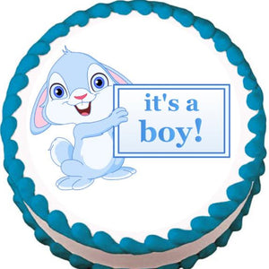 It's a Boy! Bunny Baby Shower Edible Cake, Cupcake & Cookie Topper - Trish Gayle