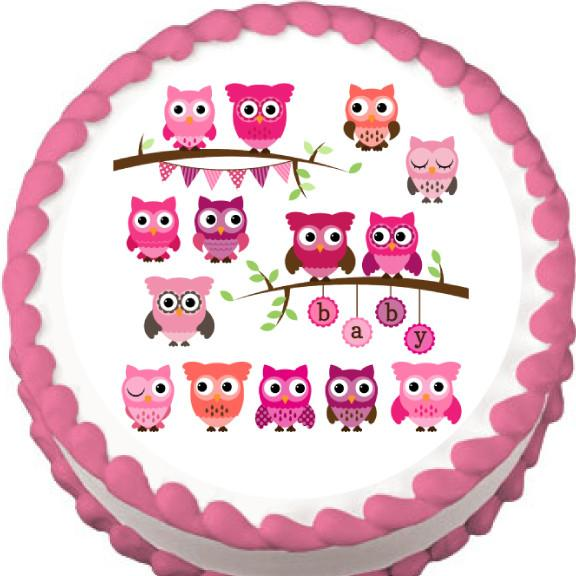 Pink Owls Baby Shower Edible Cake, Cupcake & Cookie Topper - Trish Gayle