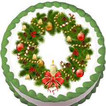 Load image into Gallery viewer, Candle Christmas Wreath Edible Cake, Cupcake & Cookie Topper - Trish Gayle