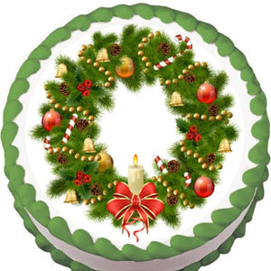 Candle Christmas Wreath Edible Cake, Cupcake & Cookie Topper - Trish Gayle