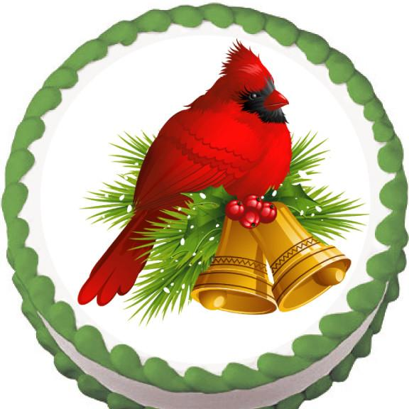Christmas Cardinal Globe Edible Cake, Cupcake & Cookie Topper - Trish Gayle